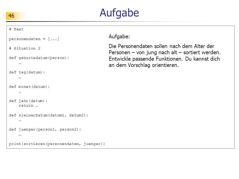 Aufgabe # Test. personendaten = [...] # Situation 2. def geburtsdatum(person): … def tag(datum):